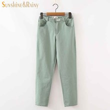 2017 spring summer dog embroidery pencil pants female solid linen leisure pants drawstring comfortable pantyhose ladies trousers