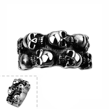 High Quality Vintage Men Gothic Wild Style Double Layers Skulls Party Rings Stainless Steel Made R041
