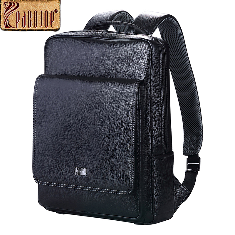 Pabojoe Travel Backpacks 100% Genuine Leather Casual College Mens Shoulder Bag 14inch 15.6inch PC Laptop Holder Mochila<br><br>Aliexpress
