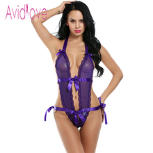 Avidlove Women Sexy Bodysuit Lingerie One Piece Teddies Lace Bodysuit Lady Nightwear Hollow Out Erotic Lingerie Hot Bodystocking(China)