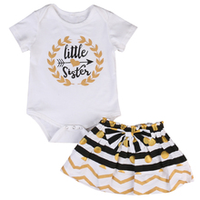 Cute Toddler Baby Kids Girls Clothes Set Little Sister Romper Dress Big Sister T-Shirt Mini Skirt Outfit Set