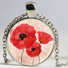Wholesale Glass Dome Pendant beautiful Red Poppy Necklace Field Of Poppies Flowers Floral Art Glass Picture Pendant