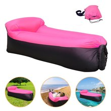 Camping Air Sleeping Bag with the pillow Fast Inflatable Air Sofa Hangout Lazy Lay bag Laybag Air Bed Chair portable air Couch(China)