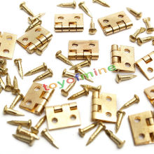 20pcs Mini Small Hinges Metal Hardwear for Dollhouse Miniatures Furniture Cabinet Closet Drawer DIY Craft Gold Tone with Nails