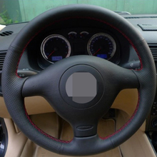 Black Genuine Leather Car Steering Wheel Cover for Volkswagen VW Golf 4 Passat B5 1996-2003 Seat Leon 1999-2004 Polo 1999-2002(China)