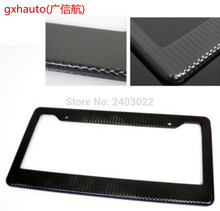 Carbon Fiber Painted Style License Plate Frame Cover - Front or Rear Universal fit all US license plate and all model of car(China)