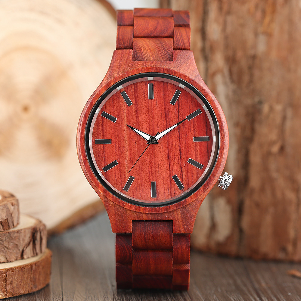 2017 New Arrival Fashion Red Sandalwood Hand-make Men Quartz Wristwatch Scale Dial Real Wood Male Casual Cool Watch Best Gift<br>