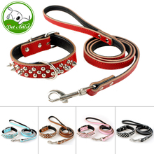 5 Colors Leather Studded Spiked Dog Collar & Leash Set For S M L