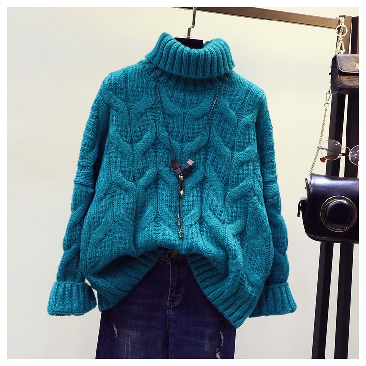2018 New Autumn and Winter Women's High Collar Thickened Knit Sweaters Solid Color Female Students Loose Twist Pullover Knitwear