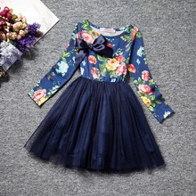 2017 baby Girl Clothes Long Sleeve Girls Dress Bow  Kids pretty princess Dresses Full children clothing sweet style A0229