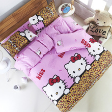 Hot!cotton polyester cartoon printing hello kitty bedclothes for baby children kid bed linen twin full queen duvet cover set
