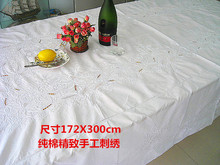 Export home cloth cotton table cloth long exquisite handmade embroidery tablecloth, bed cover