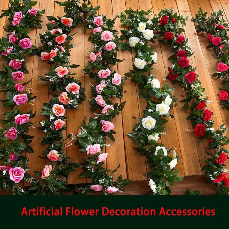 simulation flower rose artificial flower wedding house decoration 210cm 220cm 230cm length vine creepers gift party