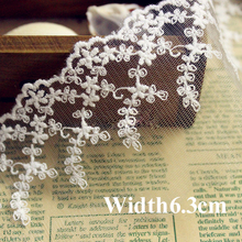 7yrd/lot Width:6.3cm Fancy leaf design ivory color lace garment embroidered mesh lace trimming diy accessories(ss-4817)