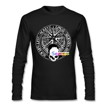 Rock and roll and skull and pentagram bw Long Sleeved Tshirs For Men Crewneck Custom Work Tshirts New Arrival Men T Shirt(China)