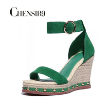 CHENSIR9 Bohemian genuine leather ankle wrap straw wedge shoes platform wedge sandals women shoes red green MLXS01A