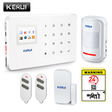 KERUI Wireless APP Control Smart GSM 2G Home House Intruder Security System OSD Menu Easy Setting With Warning Sticker