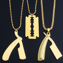 2017 Polished New Fashion Jewelry Golden Barber Shop Razor Necklace Pendant Long Chain hip hop Men Necklace(China)