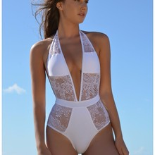 Sexy White/Black Lace One piece Swimsuits XXL Bathing Suits Ladies High Cut Monokini Swim Suits Backless Halter Swimwear Women
