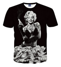 Newest Styles Vogue T shirts Sexy Marilyn Monroe T-shirt For Men/Women clothing 3D Print Cool Skull T-shirt Graphic Tee Shirt