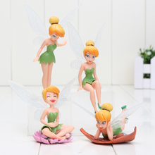 5sets Tinkerbell FAIRY PVC Action Figures Tinker Bell Fairies Model Dolls Toys good girls gift 4pcs/set(China)