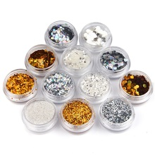 12 Bottles/lot PVC Hexagon Nail Glitter Set Mix Size Color Nail Dust Powder Women Nail Art Sequins Supply WY657