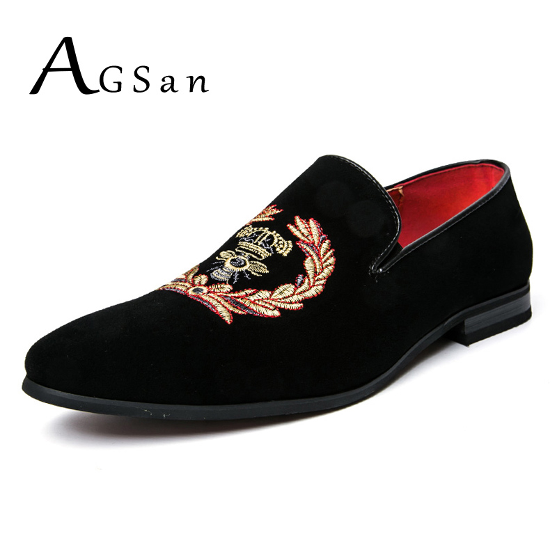 AGSan luxury brand men loafers handemade velvet casual shoes slip on oxfords flats black wedding party loafers drop shipping<br>