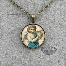 angel victorian necklace,angel wings music pendant,religious jewelry,protection jewelry ,vintage angel jewelry accessories