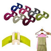 10 pcs/lot Cloth Hanger Hook Random Color Mini Flocking Clothes Hanger Easy Hook Closet Organizer Clothes Hanger(China)