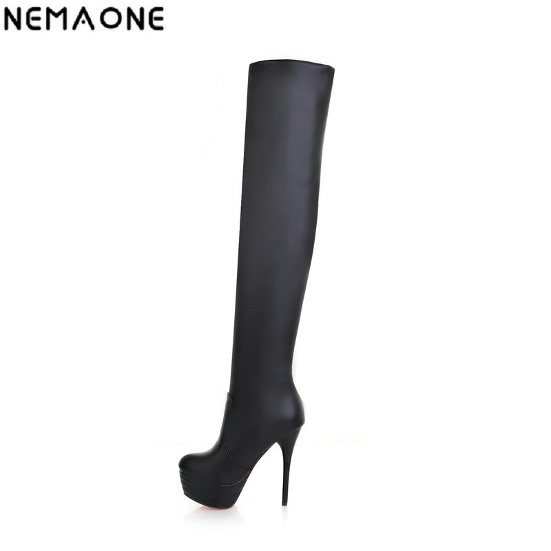 NEMAONE New winter fashion sexy thin high-heeled womens slim woman thigh boots over the knee boots large size 31-46<br>