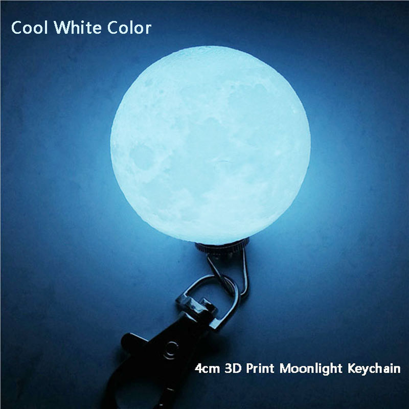 Mini 3D Print Moon Lamp 4cm LED Night Lights Novelty Moon Lamps Keychain Button Battery Powered Key Holder Bag Pendant Baby Gift (27)