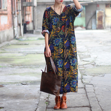 SCUWLINEN Women Dress 2017 Summer Linen V-neck Vintage Print Long-sleeve Loose-waist Hem Split Long Maxi Vintage Dress S02(China)