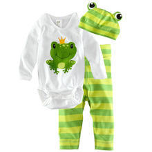 Free shipping Baby suit cotton cartoon pictures Crawling clothes Baby Coverall Romper Three-piece(China)
