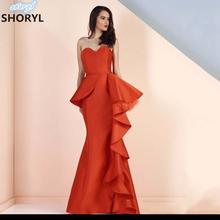 Orange Peplum Prom Gowns Mermaid Bridal Long Evening Dress 2017 Strapless Party Dresses Robe De Soiree Tulle Simple Party Dress