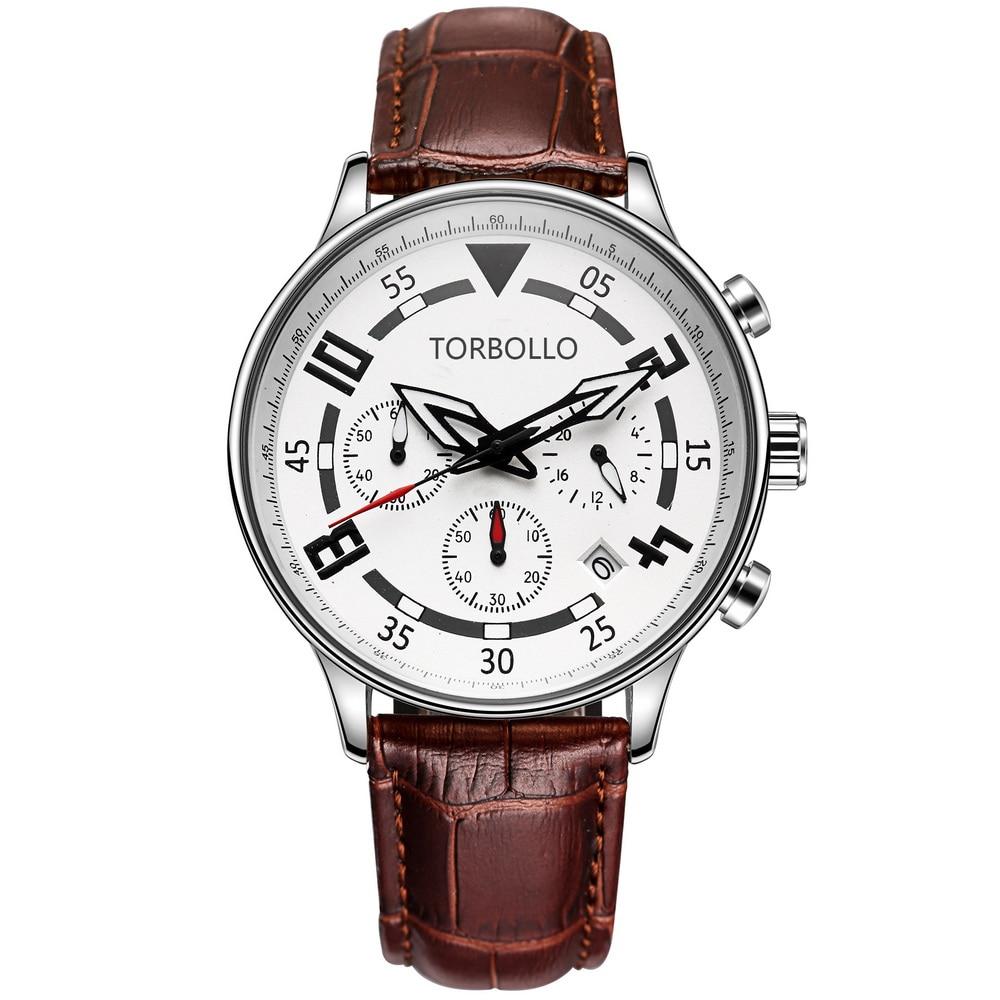 2017 Fashion Genuine Leather Men Sport Watch White Chronograph Hours <br><br>Aliexpress