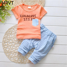 2017 lovely new Boys clothing set kids sports suit children tracksuit girls T shirt pants baby sweatshirt gogging casual clothes(China)