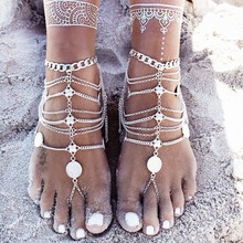 2017 Sandalia Feminina 2pcs Boho Anklet For Women Leg Bracelet Feet Jewelry Barefoot Sandals Retro Ankle Chain Foot Jewellery(China)