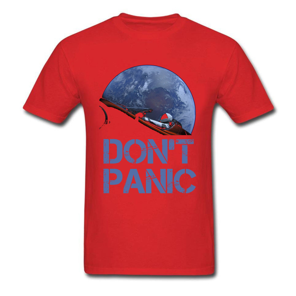 Dont Panic Starman O-Neck T Shirts Summer Tops Tees Short Sleeve New Coming All Cotton Gift Tops T Shirt Europe Men Dont Panic Starman red