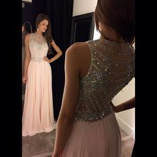 fashion Luxury long evening dresses sexy beaded light pink womens pageant dress elegant chiffon prom dress for formal party
