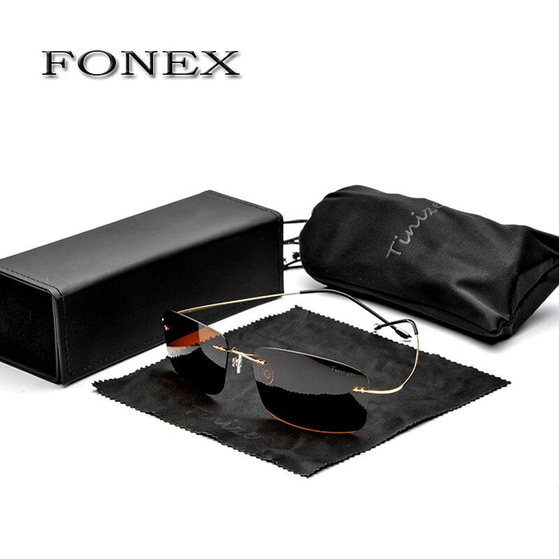 FONEX New Fashion Men Rimless Titanium Sunglasses womens Designer Polarized Square Frame Sun Glasses Shades  weight 12g TZ8616<br><br>Aliexpress