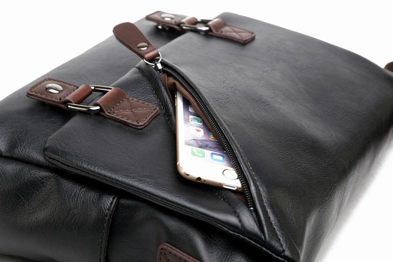 MJ Men\`s Bags Vintage PU Leather Male Messenger Bag High Quality Leather Crossbody Flap Bag Versatile Shoulder Handbag for Men (25)