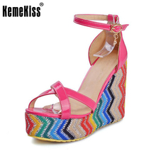 KemeKiss Size 33-45 Ladies High Wedges Sandals Women Ankel Strap Print Shoes Platform Sandal Beach Vacation Female Footwears(China)