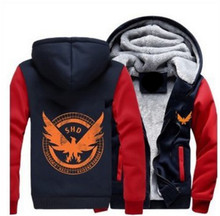 Dropshipping Game Tom Clancy's The Division SHD Logo Hoodies Zipper Pattern Coat Thicken Fleece Men Women Jacket US Size