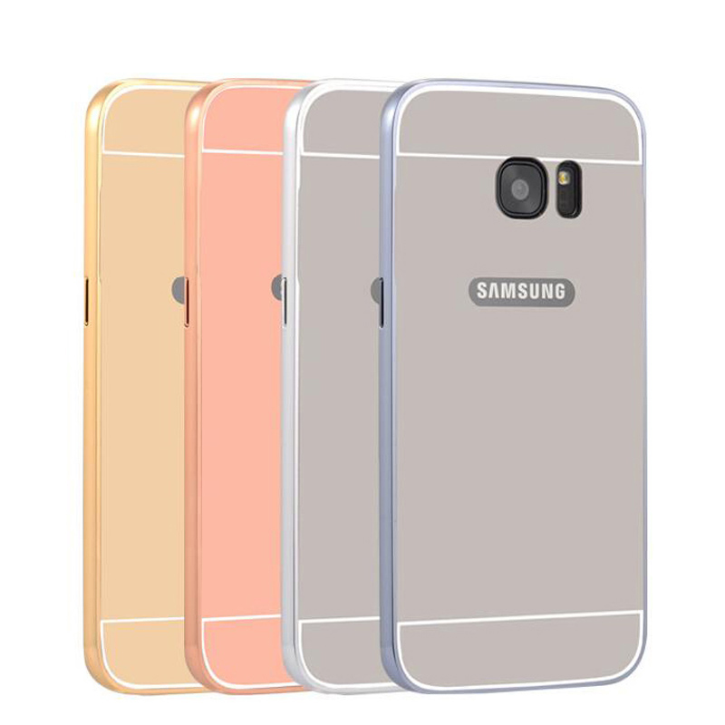S7 Edge Metal Aluminum + Acrylic Hard Back Bumper For Samsung Galaxy S7 Edge Hybrid Cover Ultra Thin 1mm Case(China)