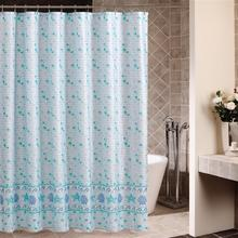 The new foreign trade original single bath curtain blue Mosaic waterproof anti-mildew polyester cloth shower curtain bed curtain(China)