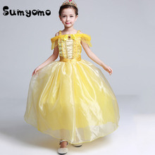 Kids Fair BELLA Girls Christmas Costumes Long Dresses Beauty and The Beast Cosplay Clothing Children Princess Belle dresses(China)