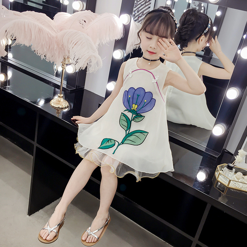 Vintage chinese style Girls Dress sleeveless summer kids clothes lace mesh dresses white girl children princess floral embroider