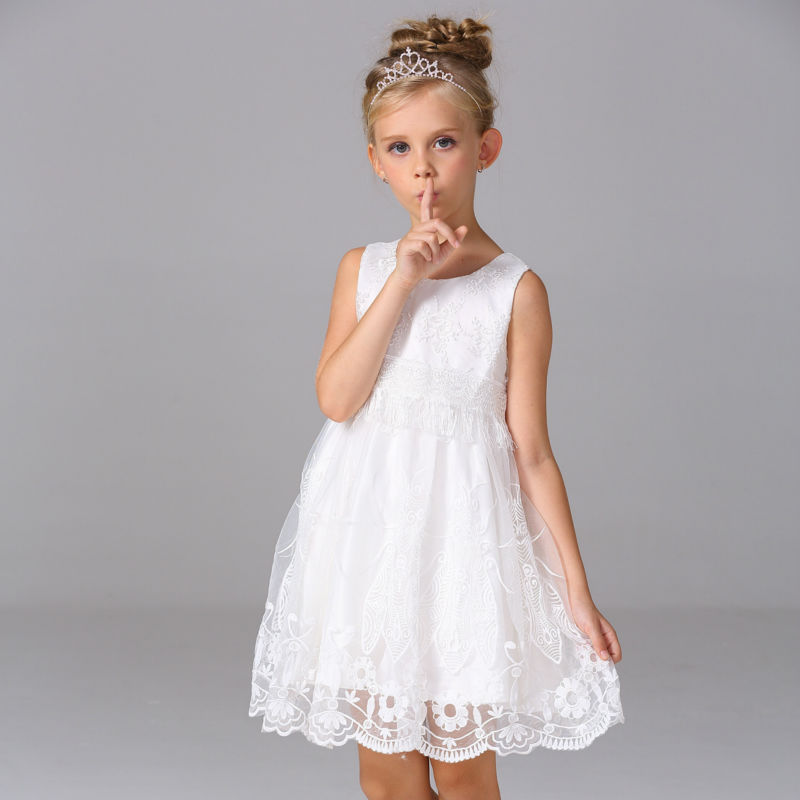 White Lace Flower Girls Dresses For Wedding Gowns Knee-Length Mother Daughter Dresses A-LinePageant Dresses for Little Girls<br>