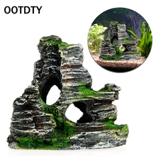 OOTDTY Mountain View Aquarium Rockery Hiding Cave Tree Fish Tank Ornament Decoration New