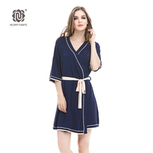 NORA TWIPS Women's Bathrobes Soft Kimono Cotton Navy Blue 2017 New Style Knit Robes Piping Sexy Nightgown Sleepwear Robe (XS-XL)(China)